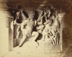 [Sculpture of Shiva impaling Andhaka in the Dumar Lena Cave Temple (Cave XXIX), Ellora.]